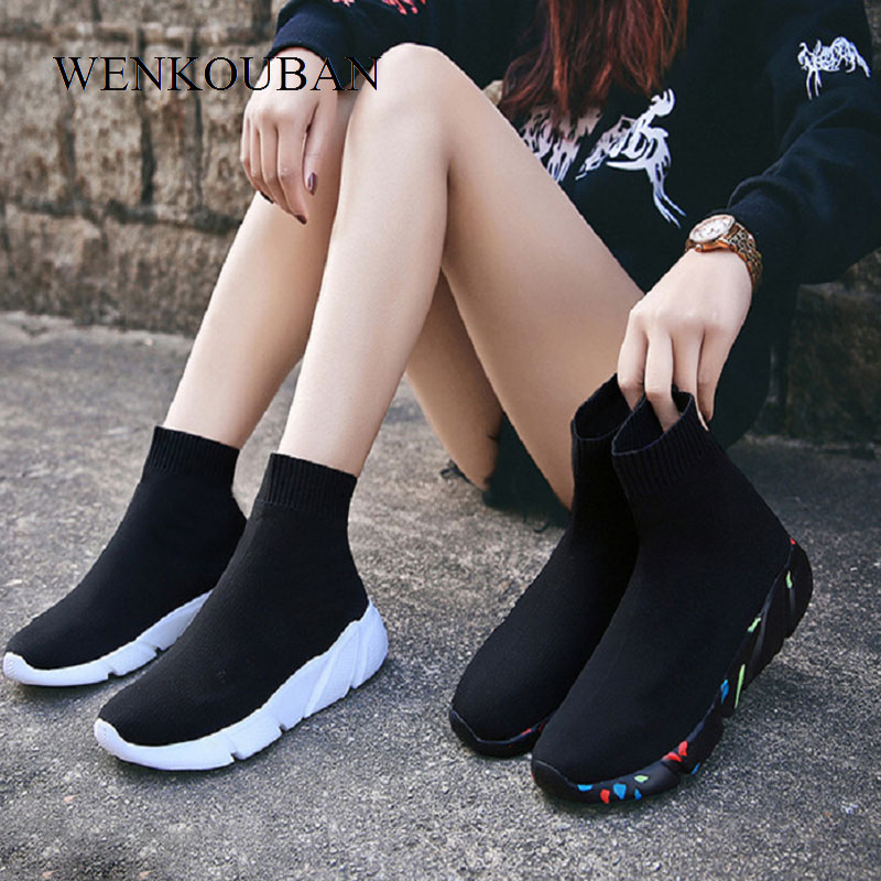 Summer Sneakers Women vulcanized Shoes Sock High Top Trainers Breathable Tenis Feminino Casual Shoes Ladies Chaussures Femme
