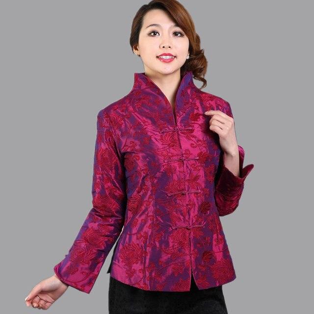 Высокое качество фиолетовый ярко розовый сатинировки женщин куртки традиционный китайский вышивка пальто Mujer Chaqueta размер sml XL XXL XXXL Mny10B