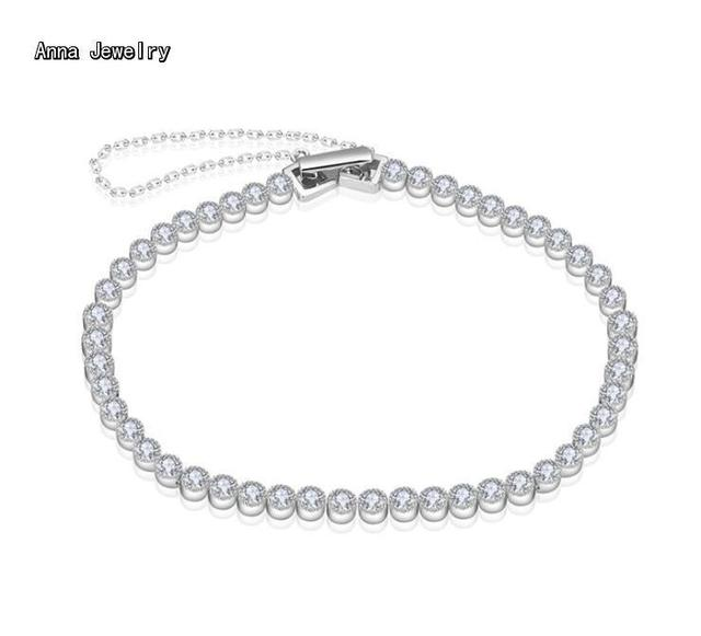 Little Luxury Designer 925 Silver Tennis Chain Bracelet Sterling With Paved Zircons