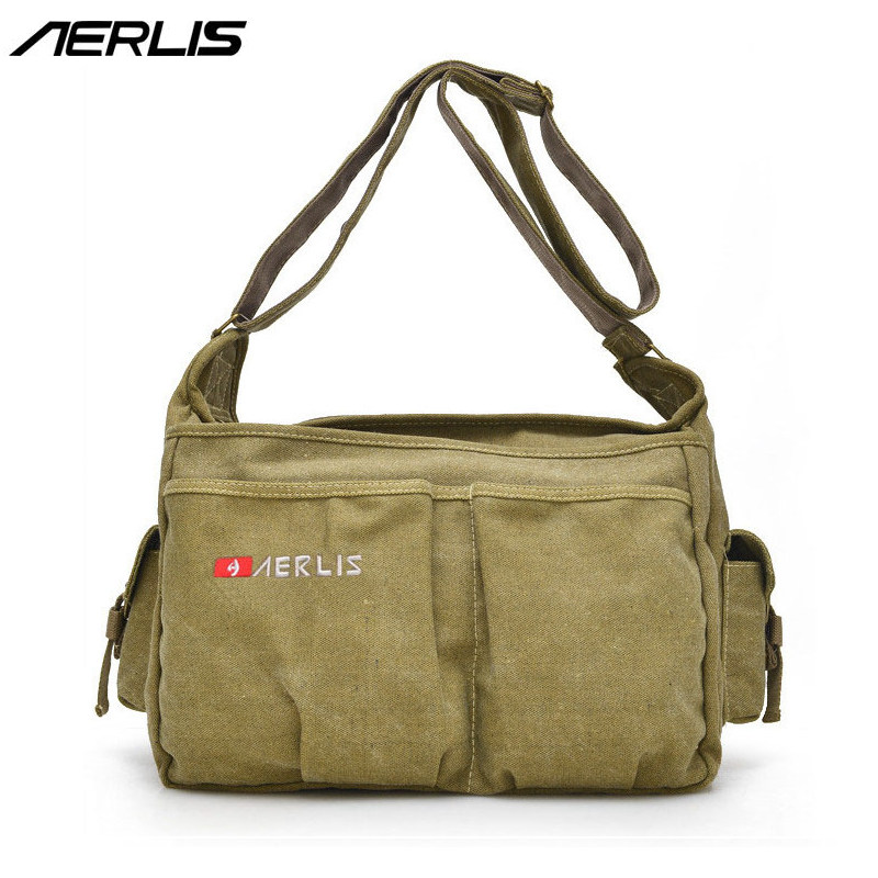 AERLIS Mens Handbags Canvas PU Leather Shoulder Messenger Bag For Books Laptop Casual Crossbody Males Business Bags A4279