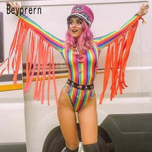 Beyprern Womens Goddess Tassle Fringe Bodysuit Fashion Long Sleeve Rainbows Striped Short Jumpsuit Festival Outfits Rave Wears