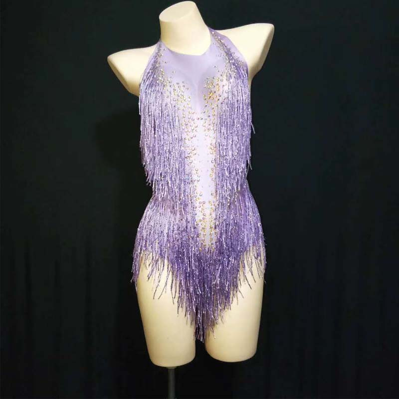 Sparkly Rhinestones Tassel Leotard Nightclub Dance Show Stage Wear Bodysuit Party Female Stage Jazz Dance For Singer Outfit