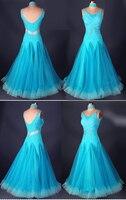 customize sleeveless blue adult Viennese Ballroom Fox trot Quick step tango Modern galop Waltz diamond competition Dance Dress