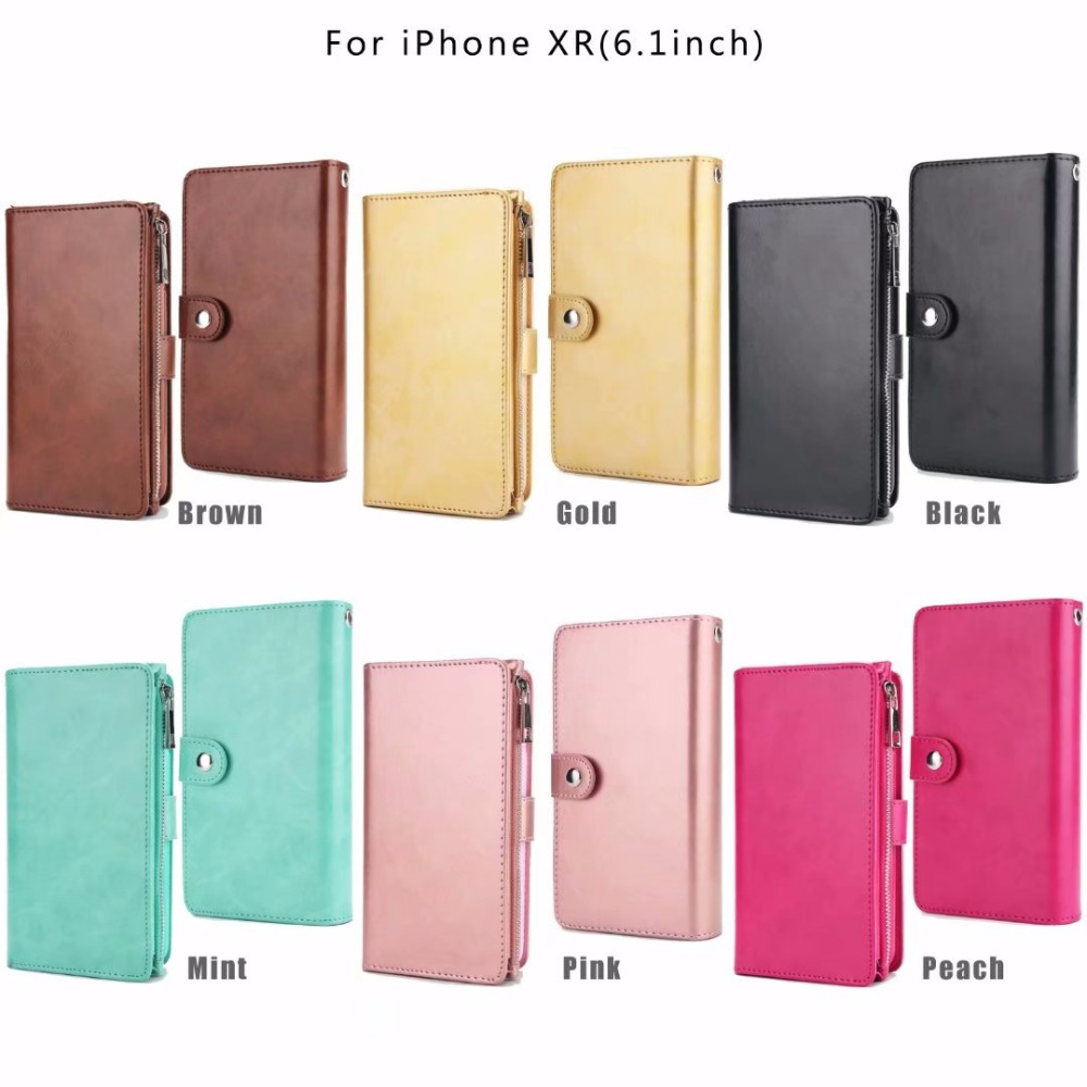 XINGDUO For iPhone X case With Card Pocket zipper TPU case pu Leather wallet Detachable phone case for iphone X 7 8 6s Plus