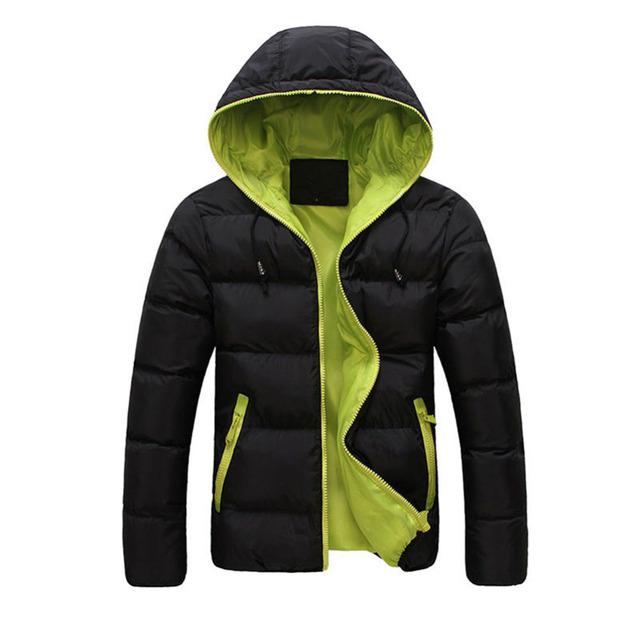 Tamanho Asiático Inverno quente Estilo Coreano Casual Homens Parka Com Capuz grosso Zipper Quente Slim Down Casacos E Outwear Jaqueta Masculina guarnições