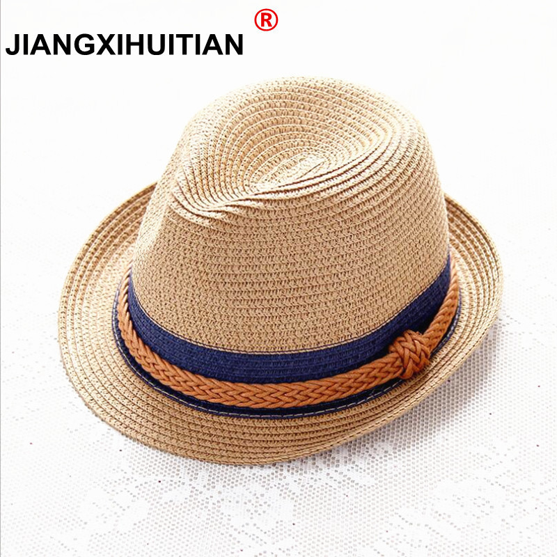 2018 Summer Jazz Women Straw Hat Beach Men Sun Hat Casual Panama Male Cap Hemp Rope Patchwork Striped Straw Hat Visor Cap