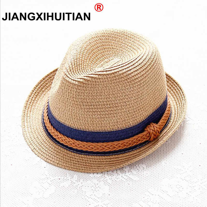 12ab888a6538c6 2018 Summer Jazz Women Straw Hat Beach Men Sun Hat Casual Panama Male Cap  Hemp Rope