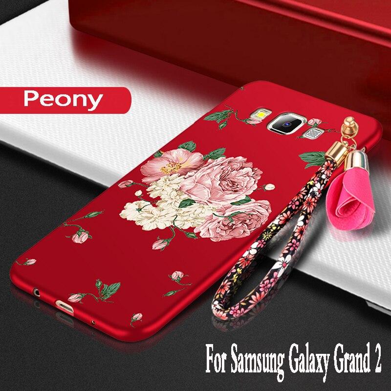 Pour samsung galaxy grand 2 étui silicone protection étui de téléphone portable pour samsung galaxy grand 2 duos g7102 couverture TPU 3D fleurs