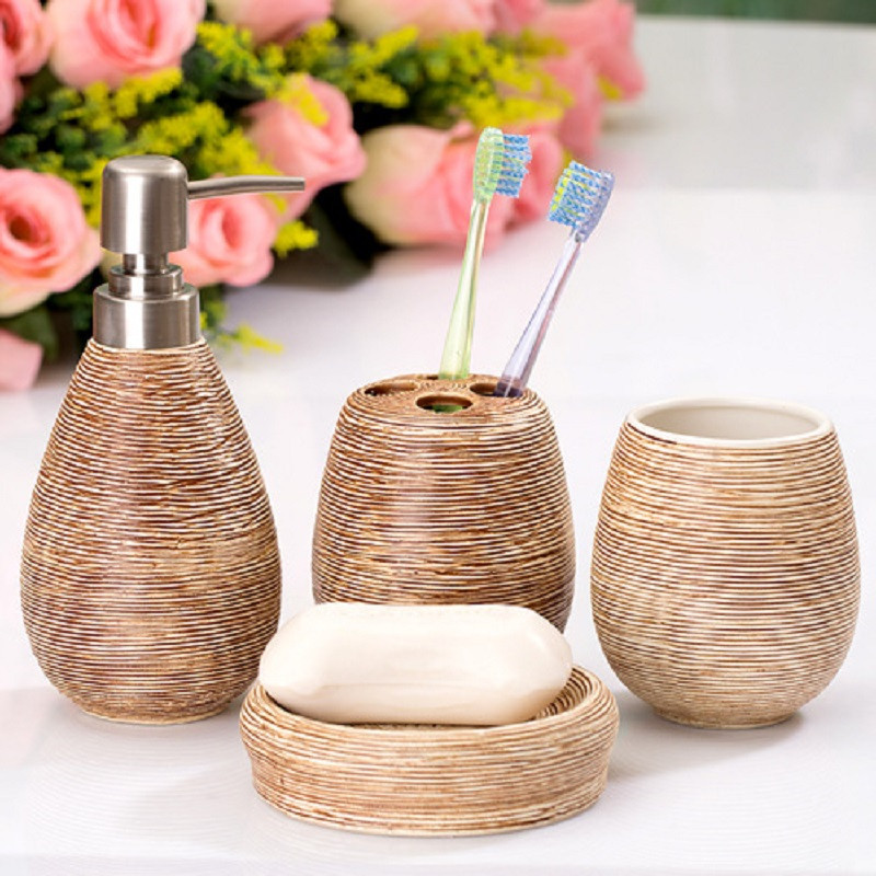 4pcs European style simple ceramic bathroom toiletries soap dispenser toothbrush holder soap dish cup set bathrooms