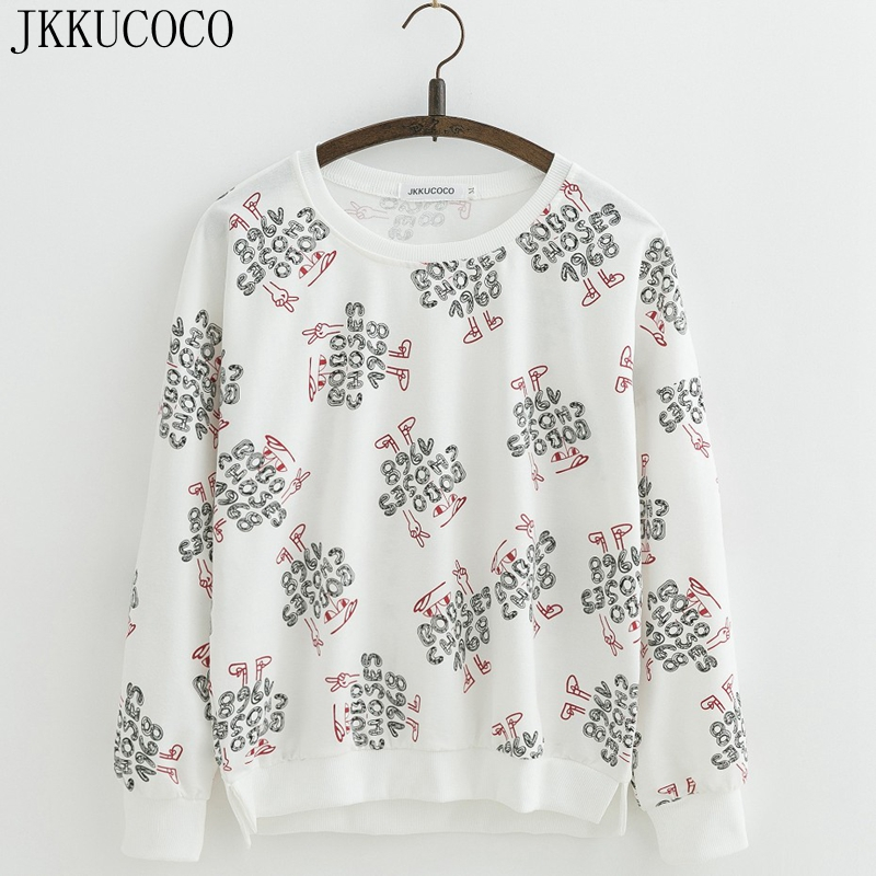 JKKUCOCO Cartoon Letters Print Cotton Sweatshirts Women Hoodies O neck Pullovers Batwing Sleeve Loose Casual Women