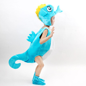 Image 3 - Children kid blue purple orange hippocampus sea horse costume Halloween party cosplay animal costume clothes for boy girl