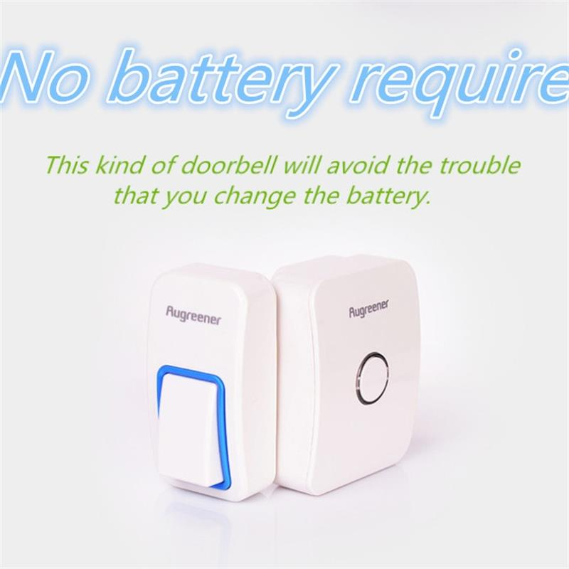 120m No Battery and Self-powered  wireless doorbell  that easy set up. 433MHz door bell. remote control 120m distance .25 chimes 2 push buttons 1 doorbell remote control wireless cordless door bell 38 ring tones no battery self powered button door bell