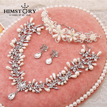 Gogeous Rhinestone Pearl Tiaras Neck;ace and earring  Bridal Wedding Party Fashion Flower  Earrings and Necklace Jewelry Set
