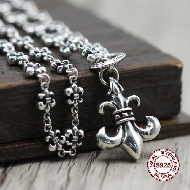 S925 Sterling Silver Necklace Personality simple wild style boat anchor adjustable pendant Classic couple style sweater chain