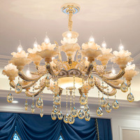 Crystal Chandelier 15 Arms Luxury K9 Crystal Light Light Modern Large Gold Chandeliers Diameter 100cm With