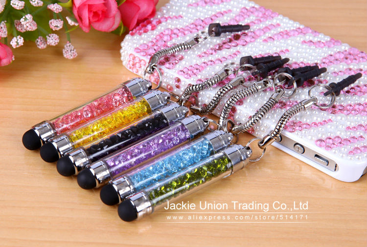 Wholesale 10 Pcs/lot High-texture Mini Crystal Stylus Pen Capacitive Screen Touch Pen For iPhone + Dust Plug very Portable