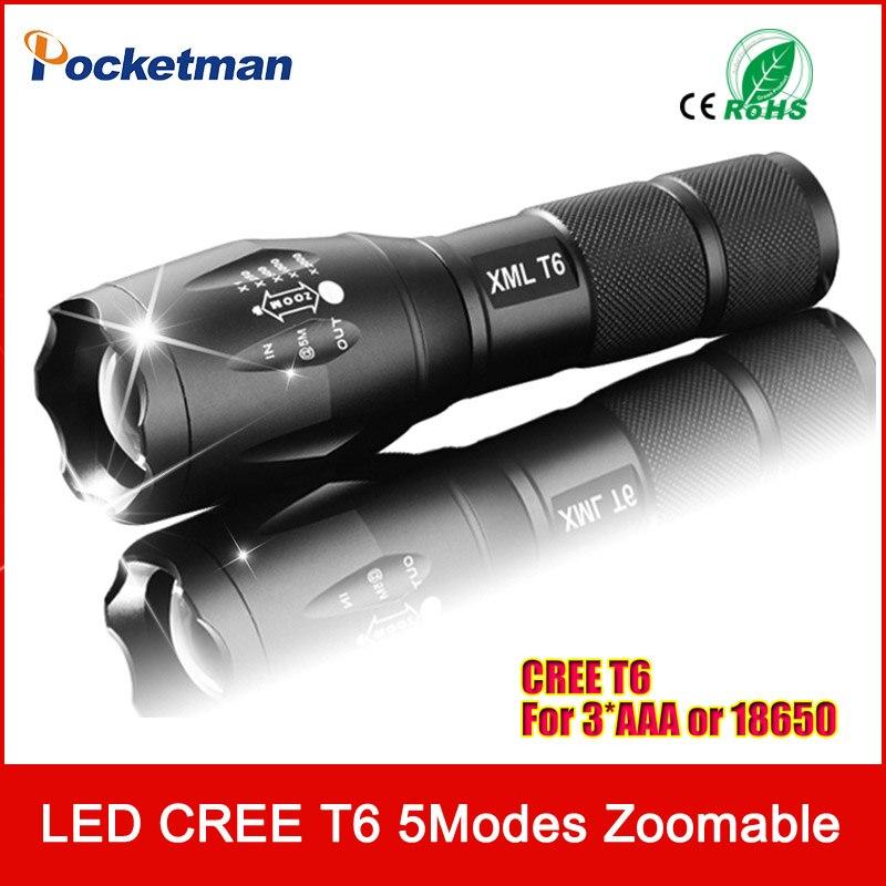 E17 XM-L T6 3800 Lumens led Torche Zoomables LED lampe de Poche Lampe Torche Pour 3 3xaaa ou 1x18650 Livraison gratuite