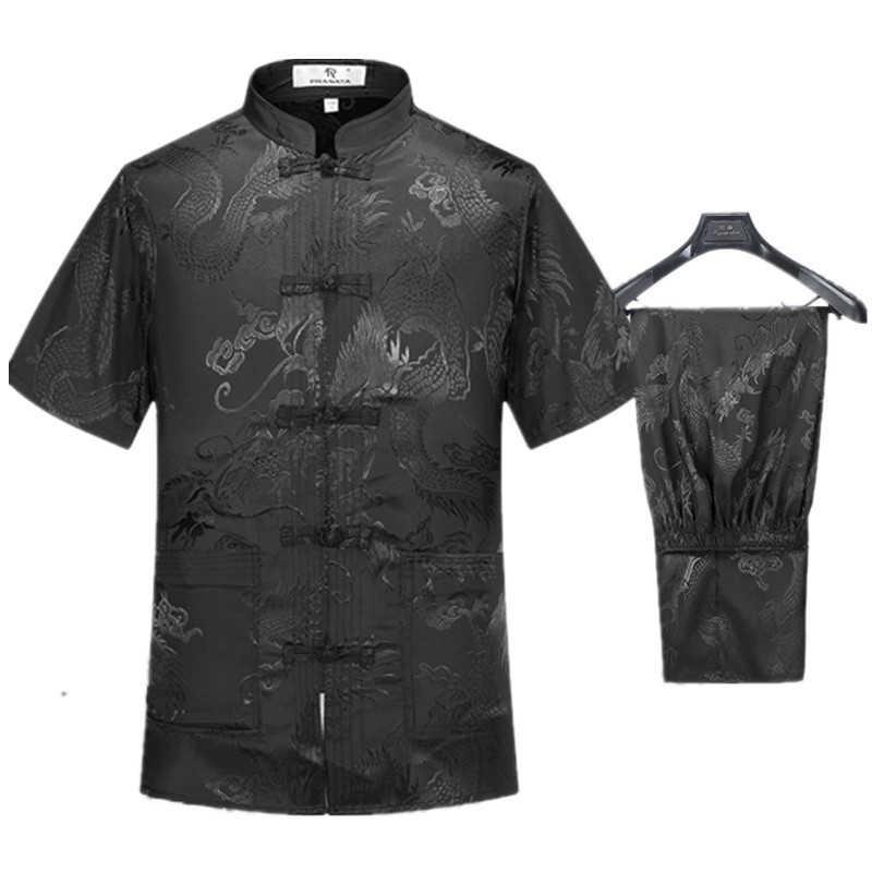 1 set korte mouwen zijde tai chi kleding china stijl draak borduurwerk kung fu Tang pak vechtsporten wushu kleding