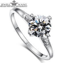 Jewellwang Fine Jewelry Moissanites Ring 1.0ct  Diamond Side Stone Engagement Rings For Women 18k Real Gold Original Lover Gifts