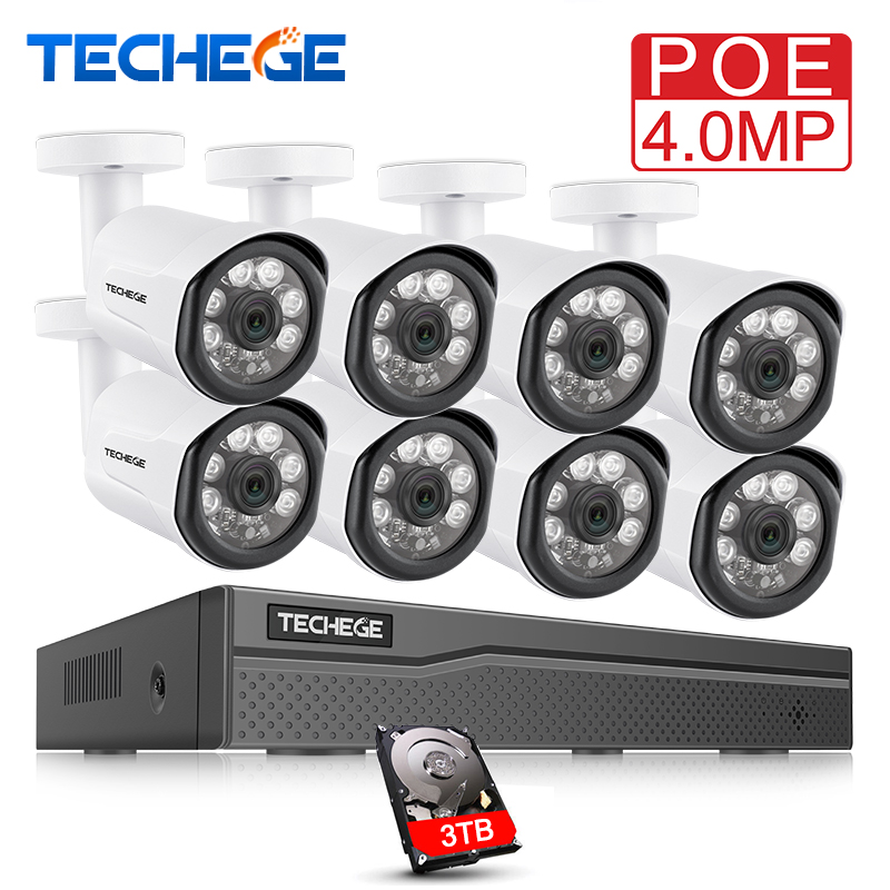 Techege 8CH POE System 4.0MP NVR H.265 Night Vision Outdoor Waterproof Network Camera CCTV Security System Surveillance Kit anran 16ch 5 0mp nvr h 265 cctv system security surveillance kit night vision outdoor waterproof network camera poe system