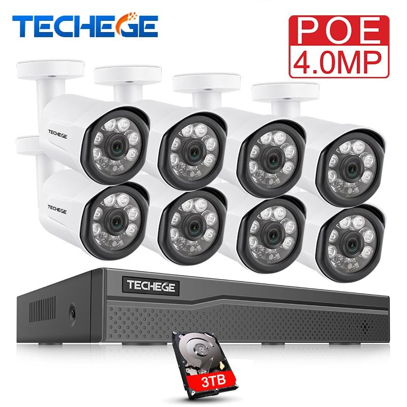 Techege 8CH POE Système 4.0MP NVR H.265 Vision Nocturne En Plein Air Réseau Étanche Caméra CCTV Système de Surveillance de Sécurité Kit