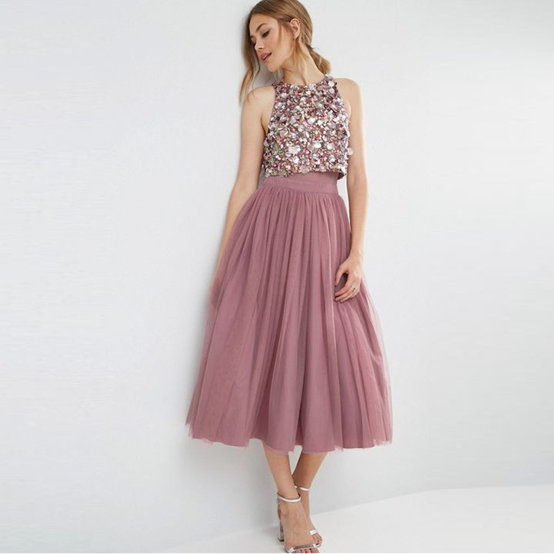 England Style Plum Tea Length Tulle Skirts For Lady High