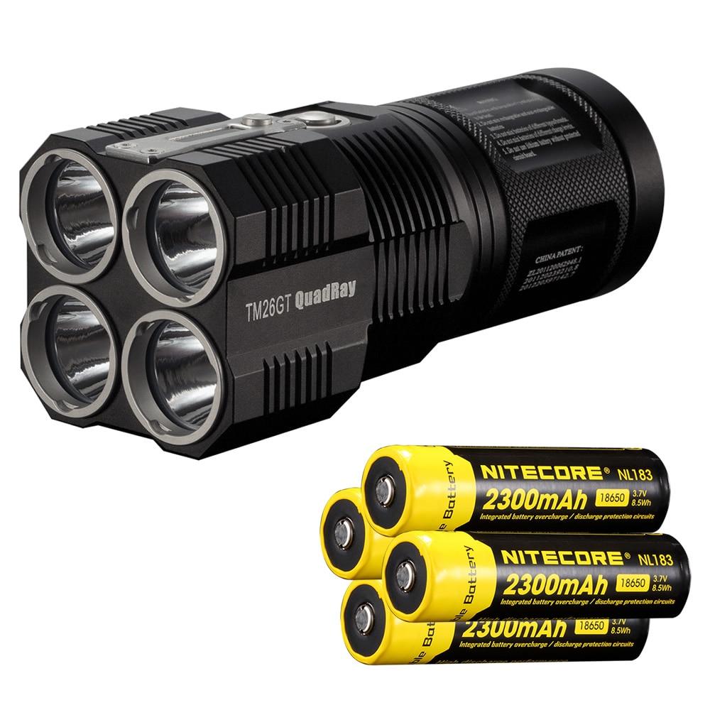 NITECORE TM26GT Tiny Monster 704M Beam Distance OLED Display 3500Lumen LED Searchlight Flashlight+4*NL183(2300mah) Free shipping
