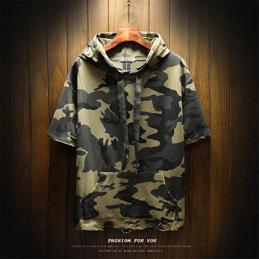 2018 Spring New Casual Hooded Tie Mens Hoodie Five Point Sleeves Men s Hoodies Fashion Mens Camouflage Printed Zipper Men Hoodie
