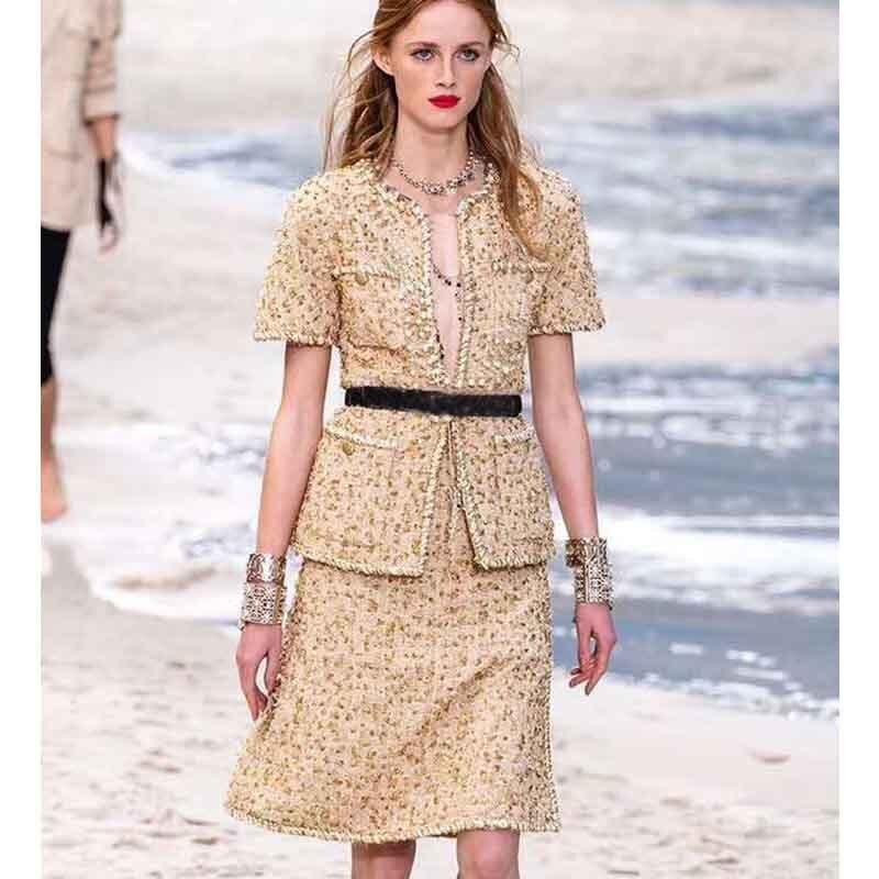 Cosmicchic для женщин короткий рукав твидовый пиджак золотая линия с круглым вырезом твидовый в клетку пальто карманом элегантный дизайнер жаке