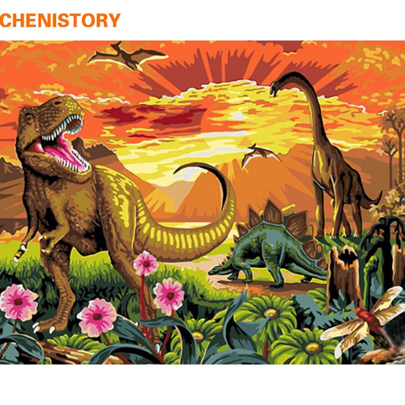 CHENISTORY Frameless Jurassic Park DIY Painting By Numbers Modern Wall Art Canvas Painting Home Wall Art Decor 40x50cm Artwork