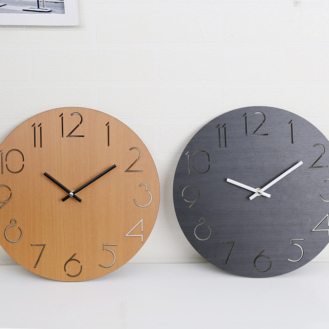 Round Wall Clock Digital Large Decorative Wall Clock Modern Design Wooden Wall Clock Silent Hang On Wall Kitchen Watch Mural