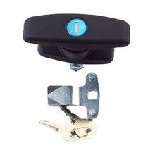 2PCS Superb T Handle Latch Lock Keyed Alike Black Coated Fit for Cabinets Garage Letter box