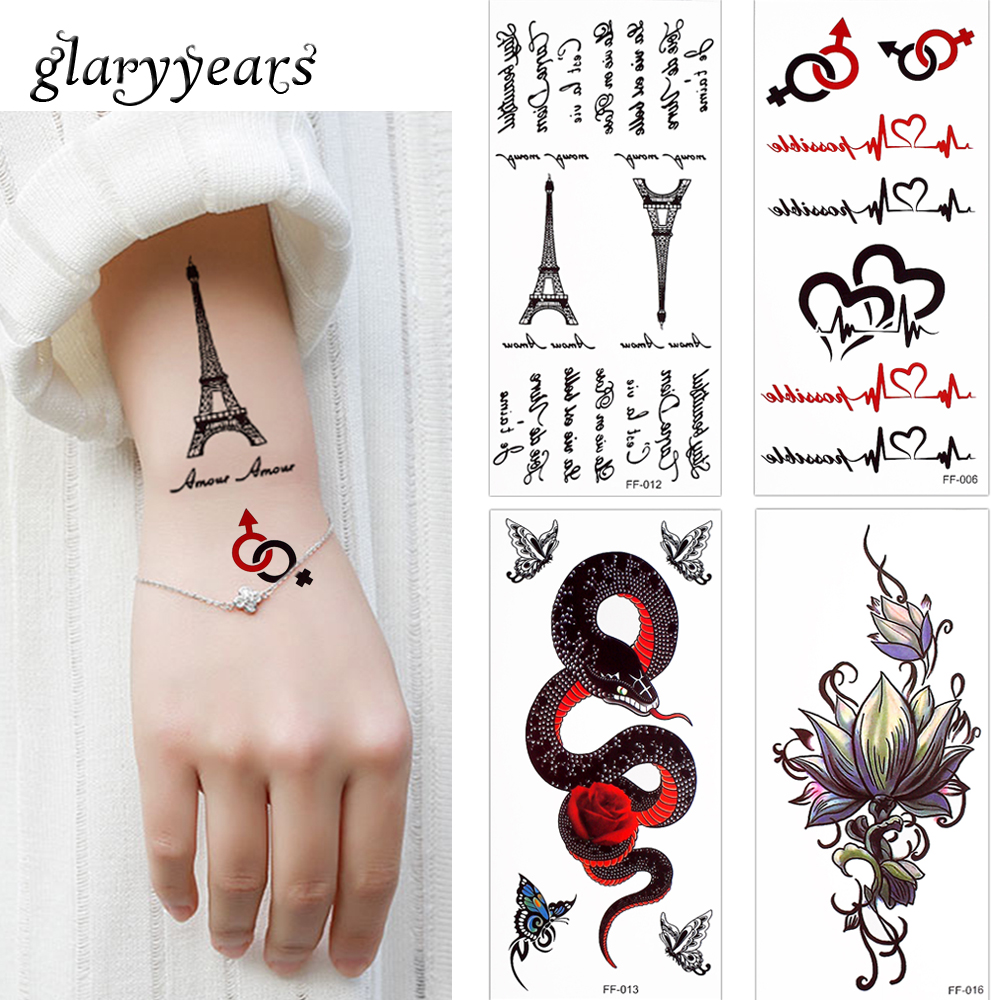Glaryyears 3 Pieceslot Letter Decal Temporary Tattoo Lotus Flower