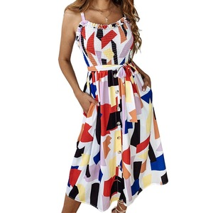 2019 Women Summer Geometric Print Lace Up Sundress Spaghetti Strap Ruffle Sashes Party Dress Button Holiday Boho Beach Dresses