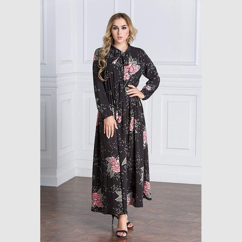 Mode luxe Vintage imprimé fleurs Abaya prier femmes vêtements musulman à manches longues robe de plage Slim taille robe 9069