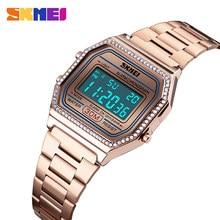 SKMEI חדש אופנה נשים שעון דיגיטלי שעונים 30M Waterproof שבוע תצוגת מקרה סגסוגת דיגיטלי שעוני יד Relogio Feminino 1474