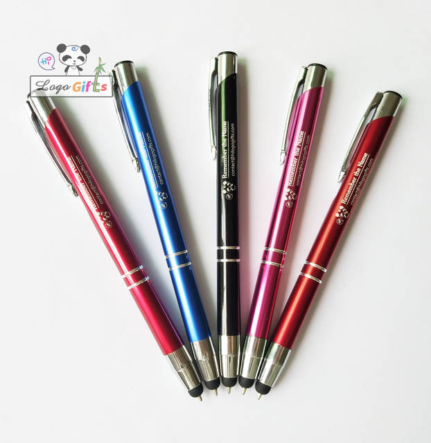 New 2019 Logo top stylus ballpoint pens custom free with company name logo  or wedding date and names 50pcs for SALE