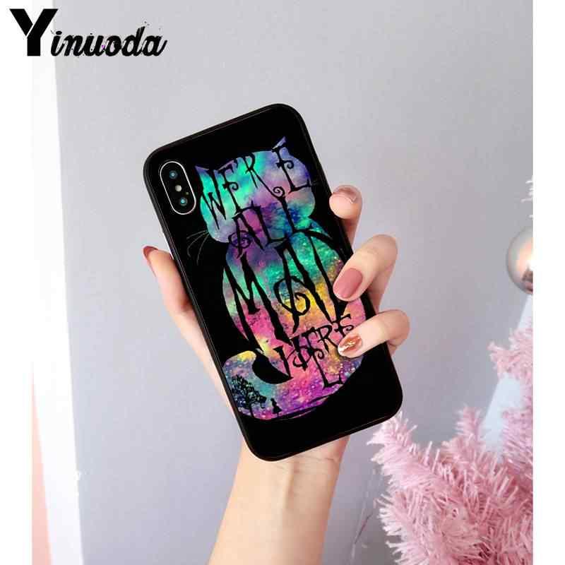 Yinuoda أليس في بلاد العجائب شيشاير القط غطاء إطار هاتف محمول آيفون 8 7 6 6S زائد X XS ماكس 5 5s SE XR Coque 11 11pro 11promax