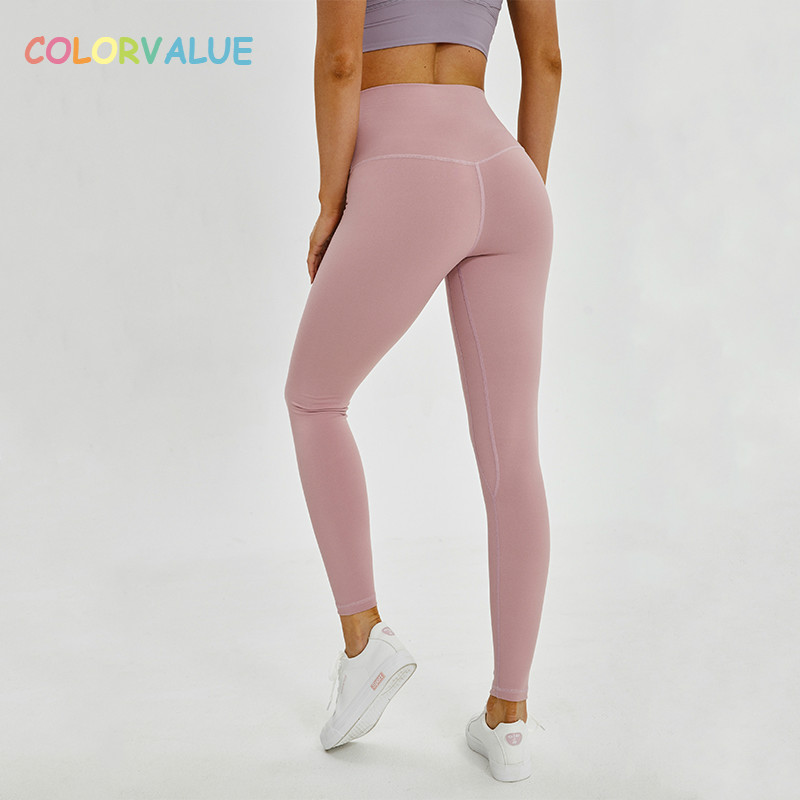 a77c79d66ca76 Colorvalue Squatproof Hip Up Yoga Fitness Leggings Women V shape Solid  Sport Gym Tights Top Quality Nylon Workout Pants XS XL-in Yoga Pants from  Sports ...
