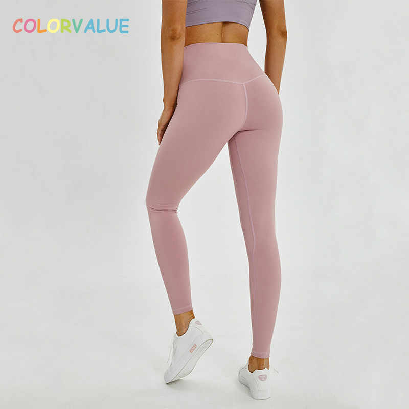 dfac77d055 Colorvalue Squatproof Hip Up Yoga Fitness Leggings Women V-shape Solid  Sport Gym Tights Top