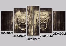 5pcs 5D diamond embroidery copper ring lion Door Knob canvas painting,Diy 5d diamond Painting,diamond cross stitch wall stickers(China)