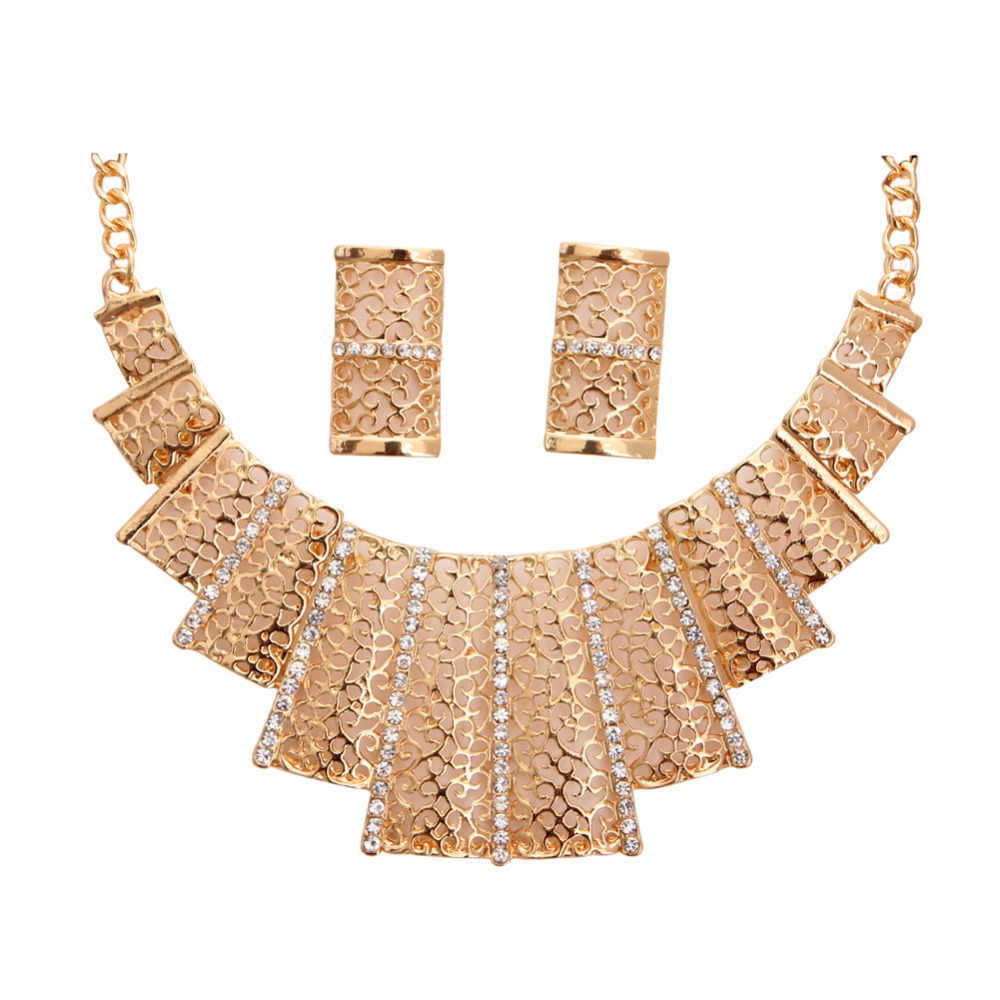 ZOSHI 2019 Women Fashion Gold Color jewelry sets Hollow Statement Choker Necklaces Stud Earrings Women Wedding Jewelry Sets