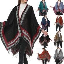 Femmes Bohême Glands Tricoté Cachemire Ponchos Châle Cardigans Manteau  Poncho Pour Femme Coton  30 d223ca5a2cf