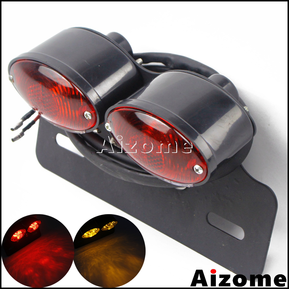Motorcycle Dual Cat Eye Taillight W/ Turn Signals RED Tail Stop Lamp Bracket License Plate Lamp For Cafe Racer Touring Scrambler