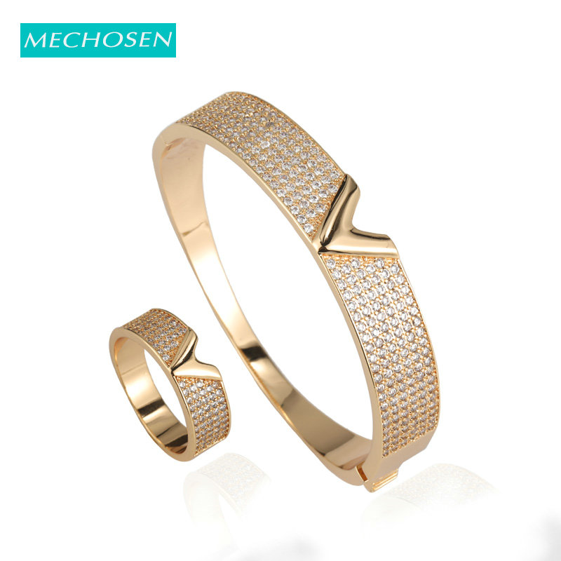 MECHOSEN Luxury Full Zircon Stackable Wide Ring Bangle Fashion Jewelry Set For Women's Bride Wedding Party Hand Accessories 2019