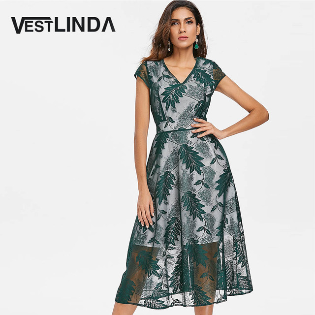 VESTLINDA Leaves Embroidered Midi A Line Dress Women Summer 2018 V Neck  Short Sleeve Brief Casual ea1573389cab