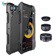 Ascromy For IPhone X Lens Kit Case Fisheye Shockproof Aluminum Metal Bumper Cover For iPhone XS iPhonex iPhonexs Accessories