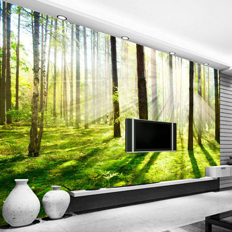 Custom 3D Photo Wallpaper HD Sunshine Woods Forest Living Room Sofa ...
