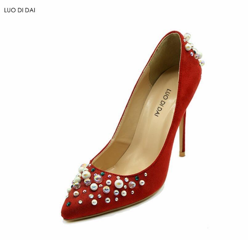 Pompes Rouge Point Sequin Talons Chaussures Mode Toe Nouvelle Hauts nOP0w8k