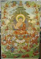 Ev ve Bahçe'ten Statü ve Heykelleri'de Thangka Brocade boyama Ipek nakış Nakış Buda Altın ipek örgü Beyaz Tara